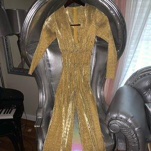 Metallic Gold Bell Bottom Jumpsuit